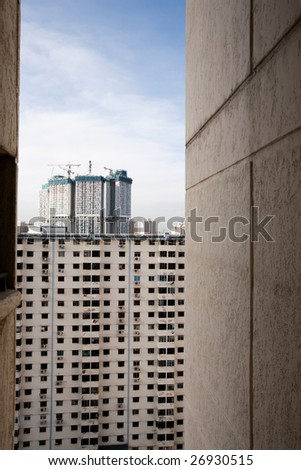 Poor view from an apartment in Singapore - stock photo