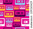 Pop analogue cassettes seamless pattern. - stock photo