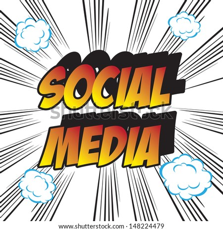 pop art background office stamp with the word SOCIAL MEDIA  - stock photo