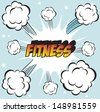 pop art background office stamp with the word with word FITNESS - stock