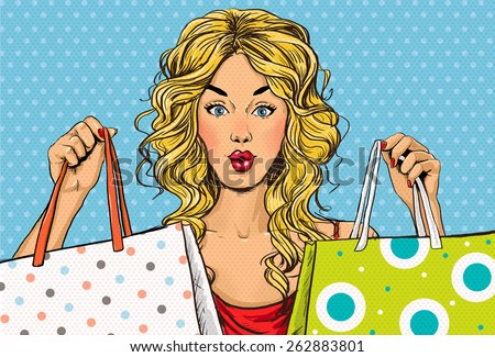 Pop Art blond women with shopping bags in the hands.Shopping Time.Sale and discount time. Black Friday.Fashion days.Pop Art girl.Hollywood movie star.Shopaholic blond girl with bags.Sale in the store. - stock photo