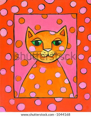 Pop Art Cat Illustration Pink and Orange - stock photo