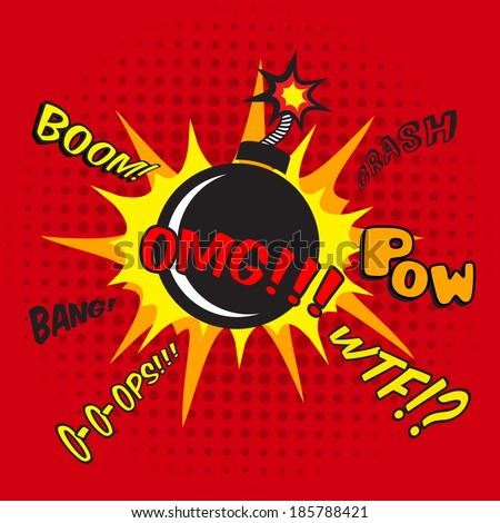 Pop art comic bomb explosion decorative halftone poster template  illustration - stock photo