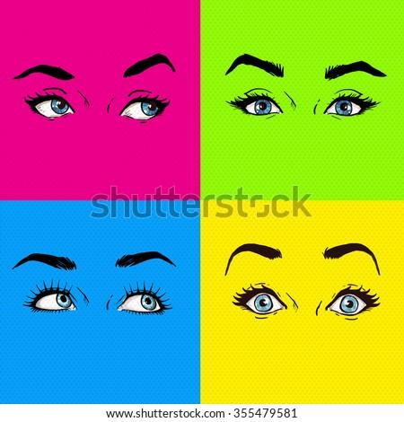 Pop art eyes. Fashion advertisement. Smiley lips.Temptation, love, happy, surprised eyes. Eyes set isolated. Design element. sexy look, lust, shock, wow, yes, maybe, no, pop art illustration, pop art  - stock photo