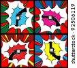 Pop art gun, clip art icons - stock vector