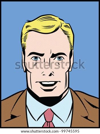 Pop Art Illustration of a Speaking Man - stock photo