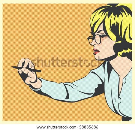 Pop Art Illustration of a Woman Writing - stock photo