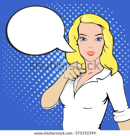 Pop Art illustration of girl with a speech bubble.  - stock photo