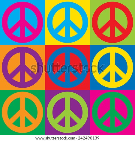 Pop Art Peace Symbols in a colorful checkerboard design.  - stock photo