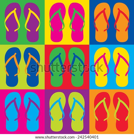Pop Art style flip flops in a colorful checkerboard design.  - stock photo