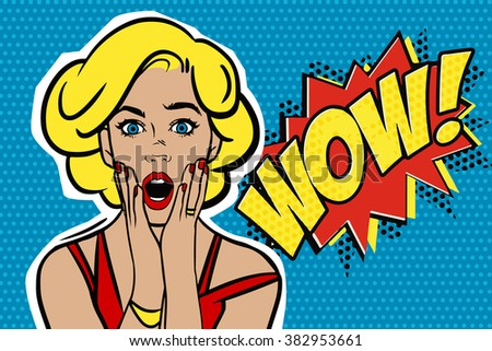 Pop art surprised blond woman face with open mouth. Comic woman with speech bubble. - stock photo