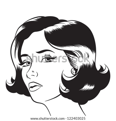 Pop Art Woman Illustration - stock photo