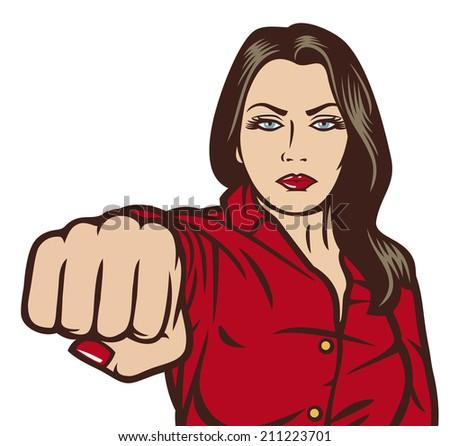 pop art woman punching (beauty girl punching) - stock photo