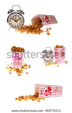 pop corn, caramel corn, snack, hot popcorn -various versions of a box of fresh popped Caramel Corn also known as  Caramel Popcorn. isolated on white with room for your text - stock photo