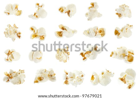 Pop corn collection isolated on white, clipping path included - stock photo
