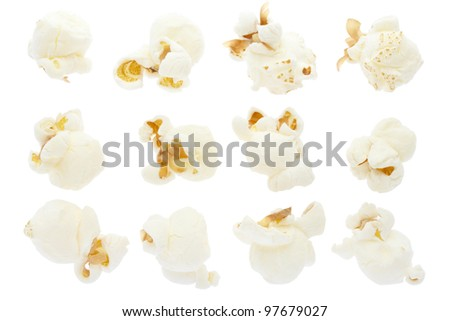 Pop corn collection isolated on white, clipping path included