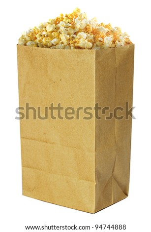 pop corn in caramel syrup in the paper box.  isolated on white background - stock photo