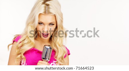 pop female blonde wearing pink singer with the retro microphone banner