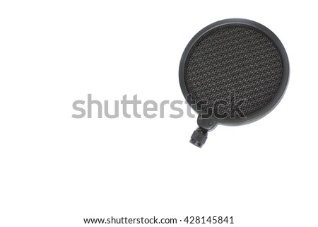 POP filter for  condenser and dynamic  mic in Studio recording on a white background.