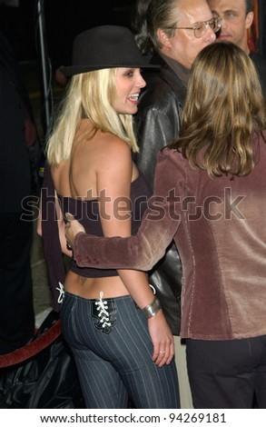 Pop star BRITNEY SPEARS at the world premiere, in Los Angeles, of The Four Feathers. 17SEP2002.   Paul Smith / Featureflash - stock photo