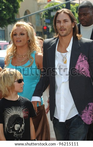 Pop star BRITNEY SPEARS & husband KEVIN FEDERLINE at the world premiere, in Hollywood, of Charlie and the Chocolate Factory. July 10, 2005 Los Angeles, CA  2005 Paul Smith / Featureflash - stock photo