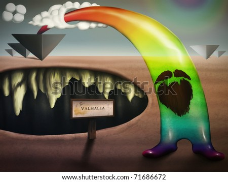 pop surrealism digital painting with a bearded translucent rainbow figure, arching over a chasm resembling a mouth. - stock photo