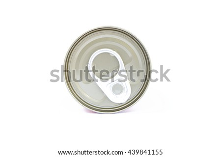 pop-top lid ,Manufacturer of metal cans, easy-open lid, pull the ring to pull for beverage containers and cans containing chemicals. - stock photo