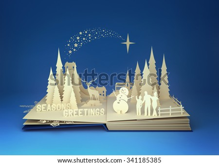 Pop-Up Book - Christmas Story. Styled 3D pop-up book with a chrsitmas theme including a family building a snowman, winter forest and stars. - stock photo