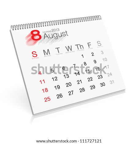 Pop-up Calendar August 2013 - stock photo
