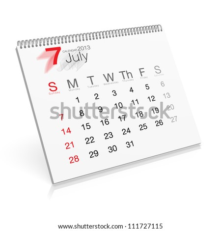 Pop-up Calendar July 2013 - stock photo