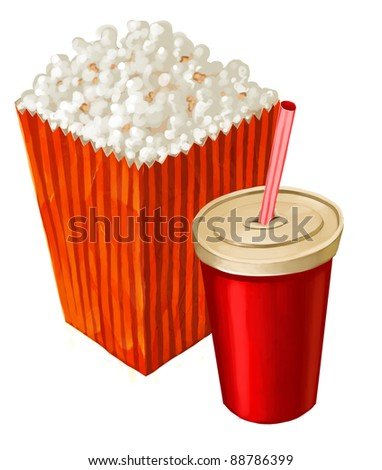 popcorn and a big cup of cola or other beverage