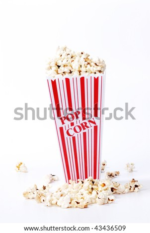 popcorn and container isolated on white - stock photo