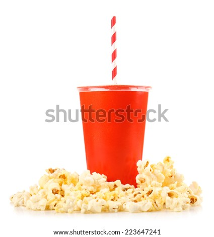 Popcorn and fast food drink isolated on white - stock photo