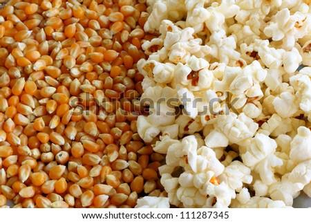 Popcorn and kernels - stock photo