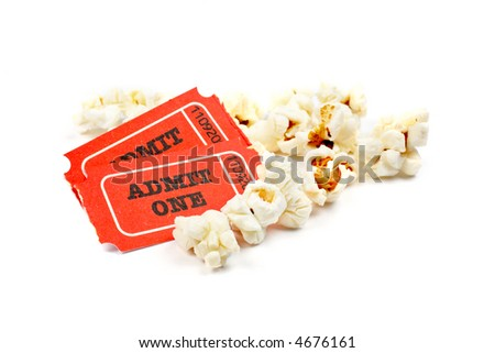 Popcorn and two tickets on white background with soft shadow. Shallow DOF