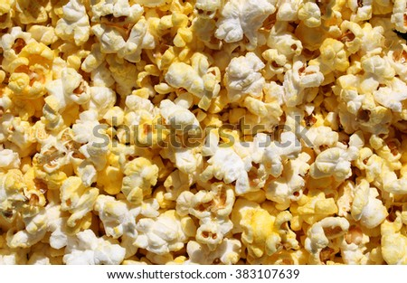 Popcorn Background Close-up - Popped and Fresh - stock photo
