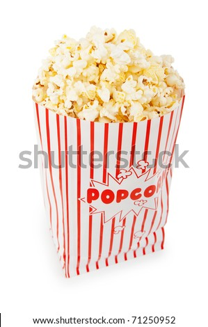 Popcorn bag isolated on the white background