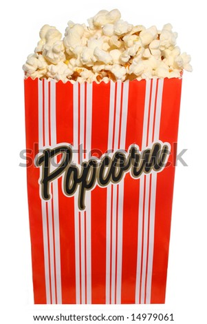 Popcorn bag isolated on white - stock photo