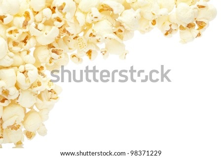 Popcorn border isolated on white, clipping path included - stock photo
