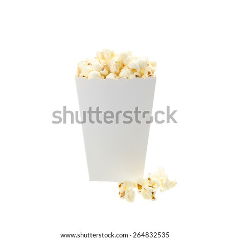 popcorn box isolated on white background - stock photo