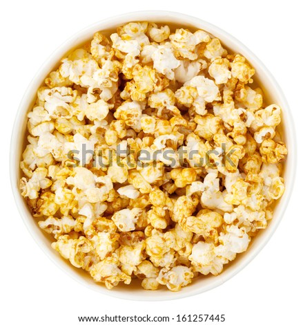 Popcorn box. Isolated on white background. View from above - stock photo