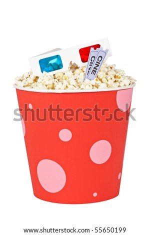 Popcorn bucket with two tickets and 3D anaglyph glasses isolated on a white background - stock photo