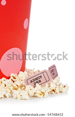 Popcorn bucket with two tickets isolated on a white background - stock photo