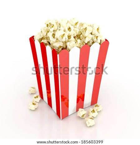 popcorn cinematography concept. 3d illustration isolated on white background - stock photo