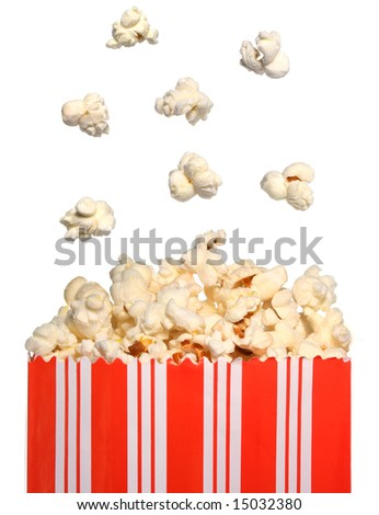 Popcorn falling in a bag - stock photo
