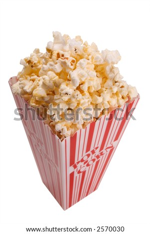 popcorn from above over white with clipping path - stock photo