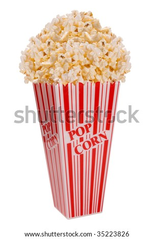 Popcorn from side isolated over white - stock photo