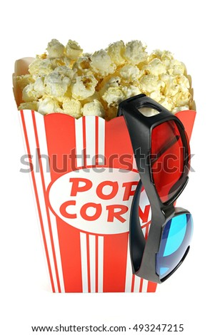 popcorn in a cardboard container with anaglyph glasses isolated on white background