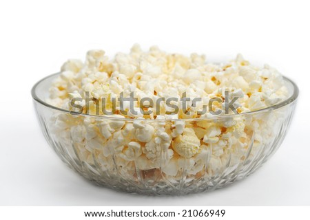 Popcorn in a glass bowl - stock photo