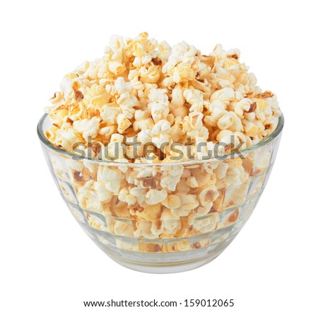 popcorn in a glass bowl isolated on white - stock photo